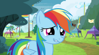 Rainbow awkward grin S4E10