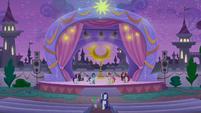 Rarity and Spike enter unicorn troupe area S9E17