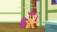 Scootaloo looks embarrassed by the door S9E12