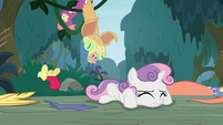 Apple Bloom and Sweetie Belle on the ground S9E12