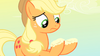 Applejack looks at the destroyed apples S4E07