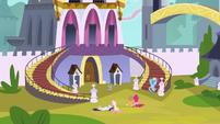 Main characters waiting outside castle S3E2