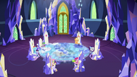 Main five and Spike in the throne room S8E2