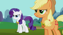 Rarity and Applejack wearing Elements S03E10
