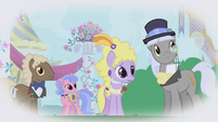 Upper-class ponies looking at Rarity S1E03