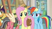 Fluttershy and Rainbow Dash look at each other S9E21