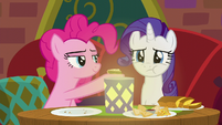 Rarity chewing Pinkie Pie's food S6E12
