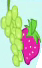 Strawberry and bunch of green grapes