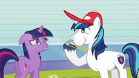 Shining Armor blowing whistle S3E12