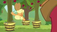 Applejack does a midair bucking kick S9E10