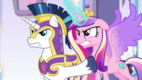 Cadance and Shining Armor with angry glares S9E1
