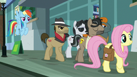 Fluttershy leaving with Dr. Caballeron S9E21