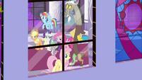 Fluttershy looking out a castle window S9E17
