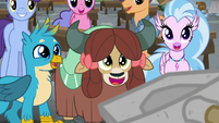 Gallus, Yona, and Silverstream look at Rockhoof S8E21