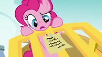 Pinkie Pie reads the third clue S5E19