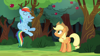 Rainbow Dash flying with one wing S6E18