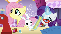 Rarity taking Angel's measurements S8E5