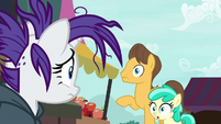 Caramel and Mint Flower looking at Rarity S7E19