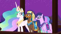 Princess Celestia with the delegates from Saddle Arabia S3E5
