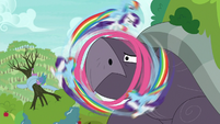 RD and Rarity wrap ribbon around tortoise's mouth S9E13