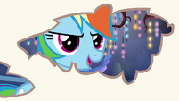 Rainbow Dash looking through page holes S7E14