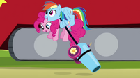 Rainbow Dash picking up Pinkie S4E12