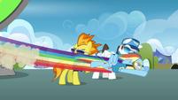 Rainbow flying past Spitfire S3E07