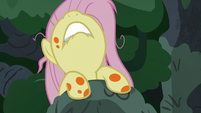 Fluttershy pulling herself up the treetops S7E20