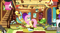 Fluttershy surrounded by sleeping animals S8E18