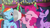 Pinkie shouting through a megaphone S6E7