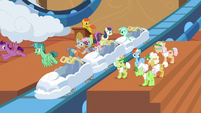 Rainbow and grannies boarding the rollercoaster S8E5