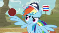 Rainbow with ball balanced on her wing S9E6