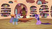 Twilight sitting down while listening to Maud's poem S4E18