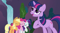 Applejack, Pinkie Pie and Rarity singing with Twilight 2 S3E2