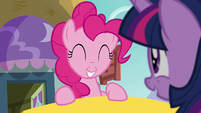 Pinkie Pie gives a pleased grin S5E19