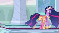 Princess Twilight walks past Luster Dawn S9E26