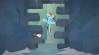 Rainbow Dash opening a secret door S9E4