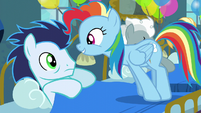 Rainbow standing in Soarin's bed S6E7