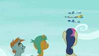 Snips, Snails, and Sweetie Drops watching the Wonderbolts S6E7