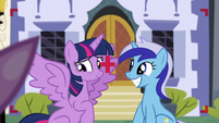 Twilight opens her wing while Minuette smiles S5E12