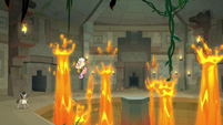 Fluttershy surrounded by lava geysers S9E21