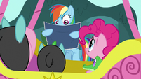Rainbow Dash looks at Wonderbolts' map S9E4