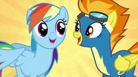 Rainbow and Spitfire recite the Wonderbolts motto S6E7