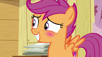 Scootaloo blushing with embarrassment S7E21