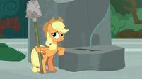 Applejack holding Rockhoof's shovel S7E25
