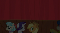 Coco, Rarity, and AJ look at the audience S5E16