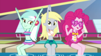 "Lyra, Derpy, and Pinkie spell out ""V.I.P."" EGDS41"