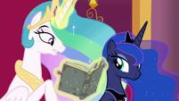 "Princess Celestia ""somewhere within the pages"" S7E25"
