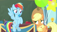 Rainbow and Applejack look at each other MLPS3