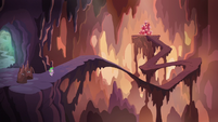 Spike, Twilight, and Rarity in the center of the flame-cano S6E5